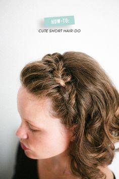 Cute crown braid for short hair step-by-step tutorial