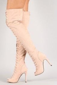Olga-Yh-1 Nubuck Lace Up Thigh High Boot - $55.00