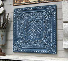Tin Ceiling Tile, Texas Architectural salvage. Indigo blue, Navy blue Large metal Wall decor. Wall Art. Beach decor