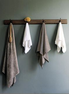 Towel hooks within reach of shower.