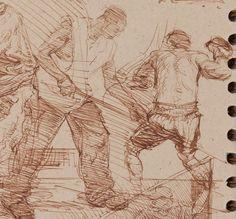 Steve Huston sketchbook page (close up)