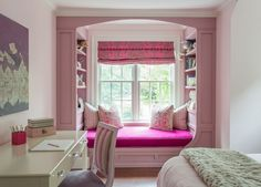 Girls Rooms - Window Seat - Design photos, ideas and inspiration. Amazing gallery of interior design and decorating ideas of Window Seat in girl's rooms by elite interior designers. Dream Rooms, Dream Bedroom, Home Decor Bedroom, Girls Bedroom, Bedrooms, Bedroom Windows, Easy Home Decor, New Room, Cozy House