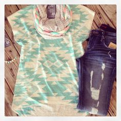 Turquoise aztec tee + braided scarf= adorbs! The Rollin' J Boutique