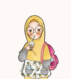 Cartoon Sketches, Cartoon Art, Cute Illustration, Watercolor Illustration, Hijab Drawing, Islamic Cartoon, Anime Muslim, Hijab Cartoon, Mode Blog