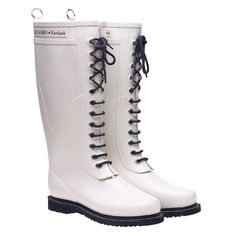 Lace Up Rainboot Tall White
