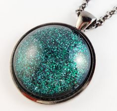 Teal Green Glitter Pendant Necklace. Circle Glass by StardustCraft, $10.00