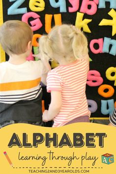 Teaching the alphabet to toddlers and preschoolers can be open-ended and fun, especially if done during play. Alphabet blocks, printed signs in dramatic play, letter stones in the sensory bin are just some of the many ways to provide a print-rich experience. #alphabet #abc #letters #reading #classroom #play #toddlers #preschool #2yearolds #3yearolds #teaching2and3yearolds Teaching The Alphabet, Alphabet Activities, Literacy Activities, Teaching Kids, Toddler Learning, Toddler Preschool, Toddler Activities, Abc Crafts, Activities For 2 Year Olds