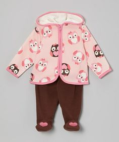 Another great find on #zulily! Pink Owl Hoodie & Brown Footie Pants - Infant #zulilyfinds