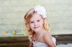 White Flower Headband - White Jumbo Chiffon Rose White Headband or Hair Clip - The Emma - Vintage Inspired - Baptism / Christening / Wedding, $9.75