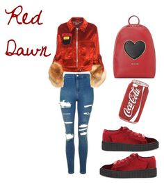 """Red dawn❤️"" by bebe-lindsss on Polyvore featuring Love Moschino, Skinnydip, Topshop and Miu Miu"