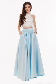 Kieran Dress: Two Piece Ice Blue Halter Neck Fit & Flare Long Prom Dress | Glam Union