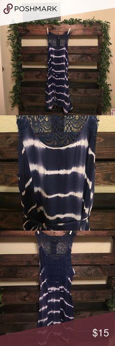 Forever21 sundress Navy blue and white sundress with racerback lace design. Forever 21 Dresses