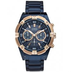 A bold watch design in masculine color from GUESS. Blue-tone stainless steel bracelet Round case, rose gold-tone bezel with markers Blue chronograph dial Gents Watches, Watches For Men, Herren Chronograph, Latest Clothes For Men, Blue Tones, Beautiful Watches, Sport, Stainless Steel Bracelet, Gold Watch