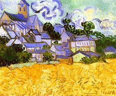 View Of Auvers With Church - Auvers-sur-oise, France 1890 - Vincent van Gogh Vincent Van Gogh, Van Gogh Art, Art Van, Monet, Van Gogh Pinturas, Van Gogh Landscapes, Van Gogh Museum, Impressionist Artists, Van Gogh Paintings