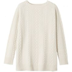 Toast Boiled Wool Cable Sweater (€175) ❤ liked on Polyvore featuring tops, sweaters, winter white, ivory sweater, winter white sweater, long sweaters, ribbed sweater and cable sweater