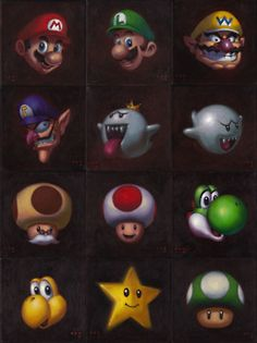 Super Mario Bros Portraits by iconicafineart