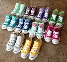 New Colors! Sassy Monogrammed Converse All Star ® Sneakers by LilDarlingsDesigns - Found on HeartThis.com @HeartThis | See item http://www.heartthis.com/product/522184926039294038?cid=pinterest