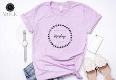 fc1bdcb795 Bella Canvas | 3001 | Heather Prism Lilac | Unisex Jersey Short-Sleeve T- Shirt | Shirt Mockup | Shirt Flat Lay | Flatlay