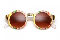 80's - Aztec Printed Rounded Wayfarer Sunglasses (More Colors)