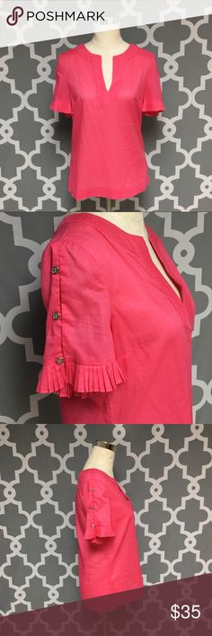 Tory Burch Light Weight Pink Top : A Tory Burch Hot Pink Light Weight short sleeve top with logo button accent on sleeve good used condition women's size 6 Approximate measurements  ▪️Pit to Pit inches  ▪️Shoulder to Hem inches  Thank you for checking out my closet! Offers are always welcome or bundle for bigger savings. If you have any questions feel free to ask! Tory Burch Tops