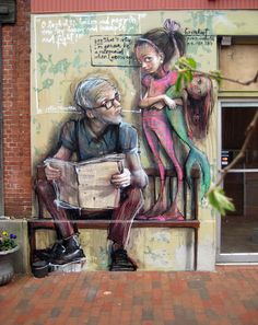 Herakut street artist for Outside/In project, Portsmouth, New Hampshire