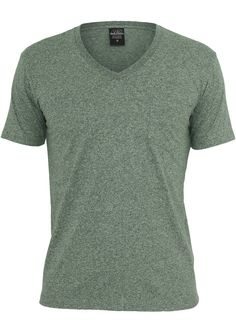 Urban Classics Melange V-Neck Pocket Tee Green - Urbanclassics-shop.nl