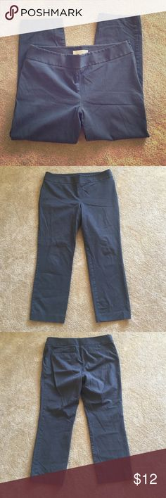Loft dark gray cropped pants Dark gray, stretch, side zip LOFT Pants Ankle & Cropped