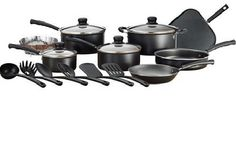 Mainstays Classic Nonstick 18-Piece Pots And Pans Cookware Set Black Kitchen New