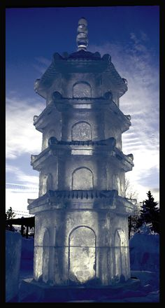 15 foot tall Ice Pagoda was created during Ice on Whyte 2011 in Edmonton Alberta. Snow Sculptures, Sculpture Art, Land Art, Ice Art, Ice Castles, Snow Art, Ice Ice Baby, Snow And Ice, Amazing Art