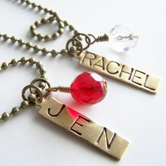 BIRTHSTONE and Hand Stamped Tag Necklace by BusyBree on Etsy, $18.00