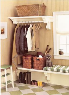 *clothes rod over bench/baskets, boot/shoe 'dirt tray' underneath, storage baskets or crates under bench, add organization station on wall beside door  - - great bead board & wall color too.