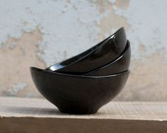 Three Black Porcelain BowlsFor soup or cereal Designed by by wapa, $89.00