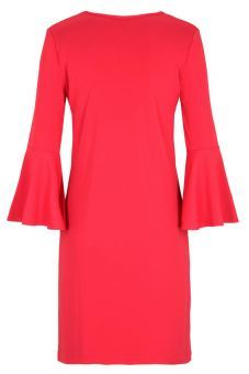 Pinkes Casual A-Linien Kleid Volantärmel   Ana Alcazar