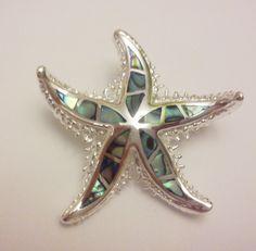 Broche de plata esmaltada con diseño de estrella