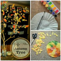 DIY Fall Tree Centerpiece Using Coffee Filters - Free Autumn Decorations - Coffee Filter Leaves - Church Street Designs