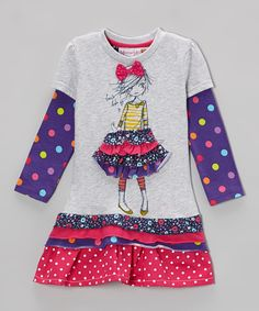 Take a look at this Purple & Pink Polka Dot Girl Drop-Waist Dress - Toddler & Girls on zulily today!