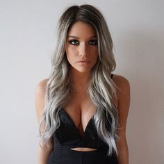 """""""So happy to have my silver back  Fresh hair by the best @hairbynamrood, wearing my @bellamihair 20"""" extensions (code: batalash) ✖️ Playsuit is from…"""""""