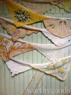 Grams Vintage Hankie Autumn Wedding Bunting  Aisle by worthygoods, $38.00