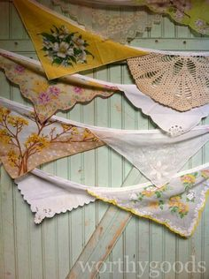 Grams Vintage Hankie Autumn Wedding Bunting  Aisle by worthygoods, $38.00