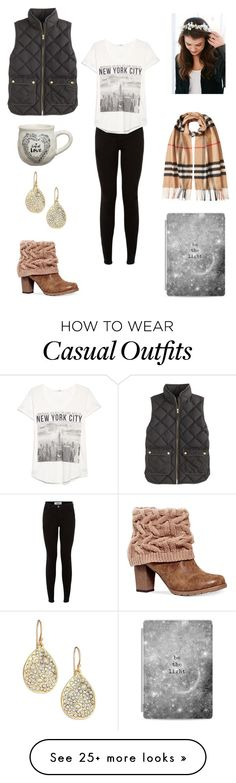 """""""N.Y.C. Casual"""" by lelisabeth on Polyvore featuring Alexis Bittar, Natural Life, Casetify, MANGO, Burberry, Muk Luks and J.Crew"""