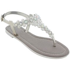 cabe197845f50 Modern Rush Silver Bali T-Strap Sandal ( 15) ❤ liked on Polyvore featuring  shoes