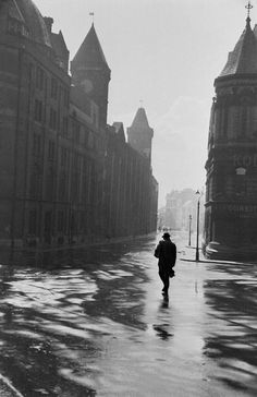 wet newcastle    a solitary tyneside man walks the wet streets of newcastle, england, 1954. photo by maurice ambler.