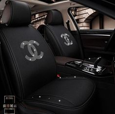 Buy Wholesale Luxury Crystals Polyester Chanel Car Seat Covers Universal Mats Auto Seat Cushion Sets - Black from Chinese Wholesaler Bling Car Accessories, Car Interior Accessories, Car Interior Design, Leather Car Seat Covers, Car Covers, Girly Car Seat Covers, Car Seat Cushion, Car Mats, Cute Cars