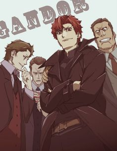 Luck, Keith, and Berga Gandor with Claire Stanfield/Felix Walken/Vino/Rail Tracer from Baccano!