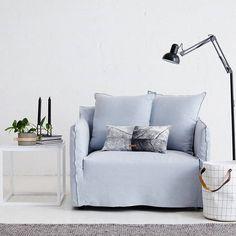 Bronte Love Seat in Italian Pale Blue Linen. #loveseat #furniture #interiors #interiordesign #house #home #design #featherandwillow by featherandwillow