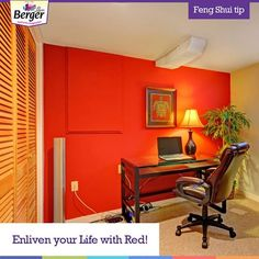 When life needs a boost in passion and enthusiasm, there can't be a better colour than red. So, increase the pace in your life with a splash of red in your house. #FengShui bit.ly/FengShuiBerger #homedecor #hometips #HomeDecorIdeas #DecorDIY Feng Shui Tips For Home, Home Hacks, Corner Desk, Passion, Colour, Red, House, Life, Furniture