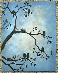 Tree silhouette painting on wall beautiful Ideas Silhouette Painting, Bird Silhouette, I Like Birds, Painting & Drawing, Painting Trees, Family Painting, Tree Art, Bird Art, Painting Inspiration