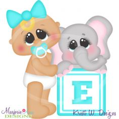 Alphabet Baby~E SVG Cutting Files Includes Clipart