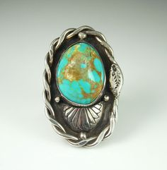 Vintage Native American Sterling Silver Turquoise Ring, Signed T Sterling