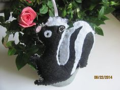 Skunk Ornament Felt Plush Gift Idea Christmas Black by AMailys, $7.00